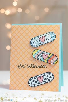handcrafted get well card ... trio of adorable bandaids ... fun!