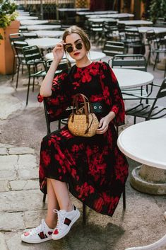 94ab1b649 15 Exciting Gucci Ace images | Dress with sneakers, Floral dresses ...