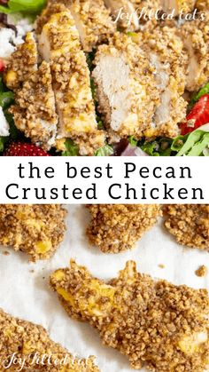 Pecan Crusted Chicken - Low Carb, Keto, Gluten-Free, Grain-Free, THM S - this offers you that fried chicken crunch but without all the extra carbs. You have tender and juicy chicken tenders that are coated and baked in a crunchy toasted pecan batter. Best Low Carb Recipes, Pecan Recipes, Low Carb Dinner Recipes, Healthy Recipes, Keto Recipes, Snack Recipes, Protein Recipes, Gluten Free Recipes, Delicious Recipes