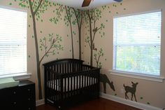 Forest nursery mural, hand-drawn and painted by Wallflower Mural Works