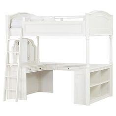 Chelsea Vanity Loft Bed, Full, Simply White