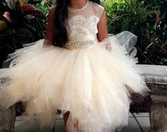 Stunning ivory 'Belle' flower girl dress ivory by somsicouture