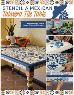 Learn how to stencil a upcycled table top with Mexican Talavera Tiles and Ceramic Tiles stencils. This DIY project and stencil tutorial will show you how!