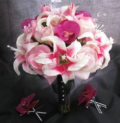Natural Touch Bouquet Beauty Orchid Fuchsia Lily Rose Bouquet