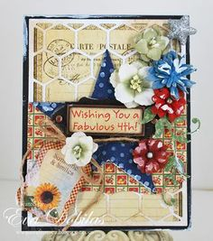 Gorgeous layered floral card by DTM, Eva Dobilas.  Come visit Petaloo's blog for an entire week of inspiration for July 4th!