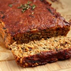 "Lentil ""Meat"" Loaf (flax seeds, green lentils, mushrooms, spinach, fresh thyme, rolled oats, almond flour)"