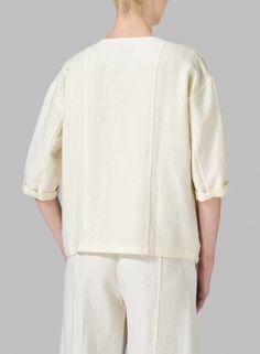 Linen Open Front Jacket