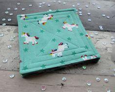 Unicorn Decor, Fabric Coasters, Unicorn Coasters, Rainbow Coasters, Quilted Coasters, Decorative Coasters, Whimsical Decor, Birthday Gift by TheCornishCoasterCo on Etsy