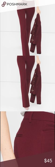 """NEW - PETITE SKINNY BOOTCUT PANTS New, never worn. Dark burgundy - Skinny bootcut pants. These super-soft pants offer amazing stretch and recovery so you will want to live in them. Viscose/cotton/elastane. Machine wash, cold. Petite: Approx. 30.5"""" inseam. White House Black Market Pants Boot Cut & Flare"""