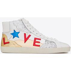 "Saint Laurent Signature Court Classic Sl/06m ""love"" Mid-top Sneaker ($885) ❤ liked on Polyvore featuring men's fashion, men's shoes, men's sneakers, mens glitter shoes, g star mens shoes and yves saint laurent mens shoes"