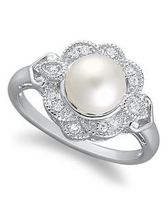 Freshwater Pearl and Diamond for an engagement ring.