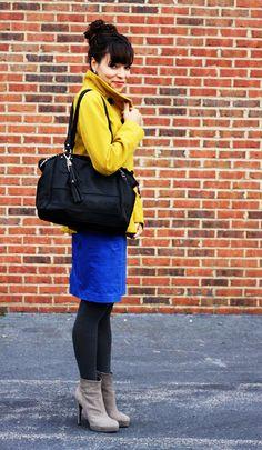 Mustard coat / electric blue mini / dark grey leggins / light grey boots Color combo