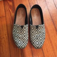 Like new black and white TOMS size 8.5 I think these are super cute but they were a gift and I've maybe worn them twice. Very comfortable. Great for spring and summer. Smoke and pet free home. TOMS Shoes Flats & Loafers