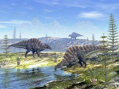 Ouranosaurus Dinosaurs - Render by Elenarts - Elena Duvernay Digital Art Prehistoric, Dinosaurs, Fossil, Fine Art America, Beast, Digital Art, Canvas, Store, Water