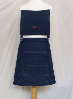 Custom version of my No 12 denim apron - the client requested a shorter length - very cute! Waist Apron, Work Aprons, Denim Crafts, Half Apron, Craft Markets, Line Patterns, Card Reader, My Design, Mini Skirts