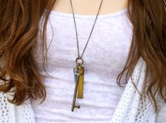 "The ""open up and live"" Soul Mantra necklace with vintage key and kyanite for speaking your truth."