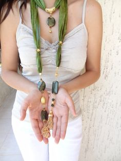 Olive Green Jewelry Scarf- Turkish Silk Scarf Necklace--Gold Plated Necklace-Gem…