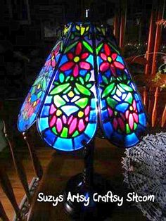 Create beautiful faux tiffany from a thrift store lamp!  Easy tutorial!