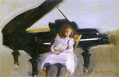 Konrad Krzyżanowski - Dziewczynka przy fortepianie (1907)