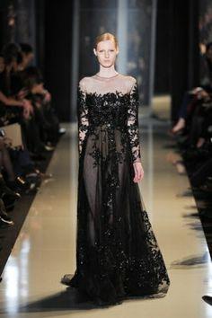 acee87afdfe7f فستان من الشيفون الاسود المطرز Long Sleeve Evening Dresses