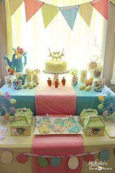 Easter dessert table -love the colors for other parties as well