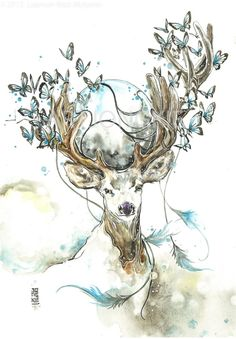 Image of The Wise Hirsch Illustration, Animal Drawings, Art Drawings, Hirsch Tattoo, Gravure Laser, Watercolor Paintings, Watercolor Illustration, Deer Art, Mythical Creatures Art