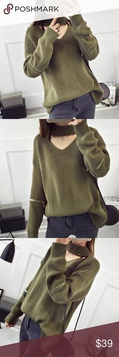 """Neck strap deco knit sweater Zipper deco on sleeves. Material: acrylic and cotton blended Measurement: length: 22"""" bust: 43.3"""" around, sleeve length-18.6"""" shoulder to shoulder- 23"""" Sweaters"""