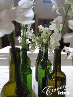 Use wine bottle for a vase in kitchen! :)