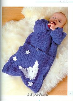 Crochet Handicraft: Baby Sleeping Bag. // ♡ VERY SWEET! AND TO ALL YOU NEW…