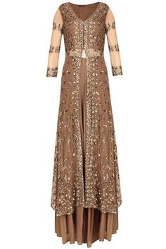 Copper elegance by Ashta Narang - Copper sequins embellished sharara set available only at Pernia's Pop Up Shop.