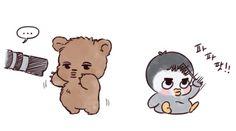 Jongin and Kyungsoo Kaisoo, Chanbaek, Kawaii Chibi, Cute Chibi, Kpop Drawings, Cute Drawings, Exo Cartoon, Exo Stickers, Exo Anime