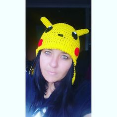 I will be having a 30 Day Headwear challenge from today on. I will be wearing something diffirent that I crochet everyday we there it be a beanie or headband or even scoodie and cowls. I love challenges like this and its something refreshing for me.  Day 1: Pikachu Beanie with ear warmer sides.  I didn't really feel like embroidering the mouth so I just made a cute little nose. Pikachu also has tail at the back.  #pikachu #selfie #brunette #greeneyes #crocheting #crochetaddict #craft #cute…