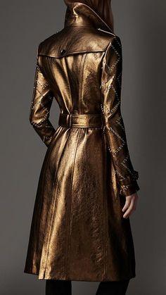 Women's Clothing | Burberry - #metallicleather - Women's Clothing | Burberry... Burberry Trench Coat, Leather Trench Coat, Trent Coat, Coats For Women, Clothes For Women, Mode Style, Leather Fashion, Metallic Fashion, Womens Fashion