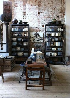 Love the shelves and the bookshelves in front of the distressed brick wall -- Industrial decor // Decoración industrial Industrial Living, Vintage Industrial, Industrial Style, Industrial Design, Industrial Interiors, Industrial Office, Industrial Furniture, Industrial Shelves, Loft Furniture