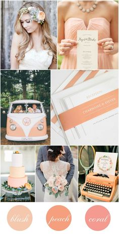Peach, Blush, and Coral Wedding Inspiration - Peach Cake, Peach Striped Wedding Invitations, Flower Crown, Coral Bridesmaids Dresses