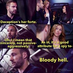 Deception's her forte. || Lance Hunter, Bobbi Morse, Melinda May || AOS 2x06 A Fractured House || ?x? || #quotes #huntingbird