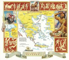 Map frieze from August 1986 issue of National Geographic portraying scenes from the Odyssey, the story of Ulysses' ten-year-long journey home to Ithaca along with the author's path tracing that route Argo, Sea Peoples, Mycenae, Trojan Horse, Bronze Age, Crete, Ancestry, Athens, National Geographic