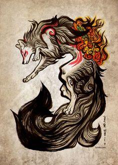 Cool Art: 'Amaterasu' by Kiri Yu Wolf Tattoos, Fox Tattoo, Nature Tattoos, Ruby Tattoo, Amaterasu, Wolf Goddess, Fuchs Tattoo, Japanese Mythology, Japanese Folklore