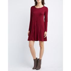 Charlotte Russe Layered Trapeze Shift Dress ($20) ❤ liked on Polyvore featuring dresses, maroon, asymmetric wrap dress, maroon long sleeve dress, shift dress, long sleeve asymmetrical dress and maroon dress