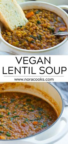 Vegan Lentil Soup is so budget friendly, warming and satisfying! Vegan Lentil Soup is so budget friendly, warming and satisfying!Vegan Lentil Soup is so budget friendly, warming and satisfying! Vegan Lentil Soup, Lentil Soup Recipes, Vegan Soups, Easy Vegan Soup, Easy Lentil Soup, Vegetarian Meals, Low Sodium Lentil Soup Recipe, Recipes With Lentils Vegan, Vegetarian Recipes Delicious