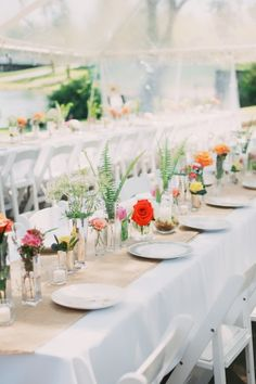 Sweet and simple wedding tables: http://www.stylemepretty.com/missouri-weddings/springfield-mo/2014/09/25/vintage-rustic-wedding-in-the-ozarks/ | Photography: Climer - http://climerphotography.com/