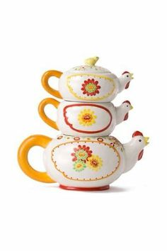 ANTHROPOLOGIE Chicken Hen Rooster Stackable Tiered TEAPOT Good Cluck Tea Set Pot