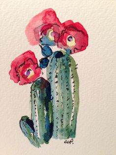 Cactus Watercolor Card by gardenblooms on Etsy, $4.00