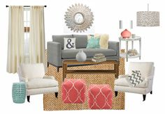 A fun beach house design inspired by the colors turquoise, coral and gray.  Chic silver accessories and a natural woven rug complete the design.