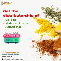 Get the #distributorship of #Spices, Natural #Soaps & #Agarbatti / Incense Sticks under the 𝗯𝗿𝗮𝗻𝗱 𝗻𝗮𝗺𝗲 𝗼𝗳 𝗠𝗮𝗵𝗮𝗯𝗵𝗮𝗸𝘁𝗶. If interested in this #BusinessOpportunity, share your contact details with us. Sales Agent, Natural Soaps, Incense Sticks, Business Opportunities, Spices, Spice