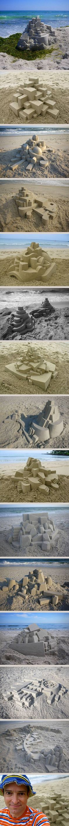 Using a variety of 3D geometric shapes such as prisms, pyramids, cylinders, spheres and cones; artist Calvin Seibert creates wonderful sand sculptures that are not quite 'castles' but much more than just randomly placed building blocks.