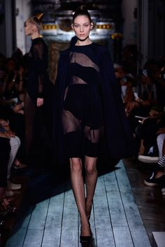 """Dress and cape """"Clair de Lune"""" in silk chiffon and blue-black and """"nuit"""" crêpe."""