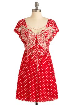 My Favorite Wings Dress by Sugarhill Boutique - Casual, Vintage Inspired, Red, Tan / Cream, Polka Dots, Embroidery, Sheath / Shift, Short Sleeves, Short