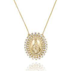 Colar com Medalhinha de Nossa Senhora das Graças Semijoia em Ouro 18K com Zircônia  Branca 77677906c7