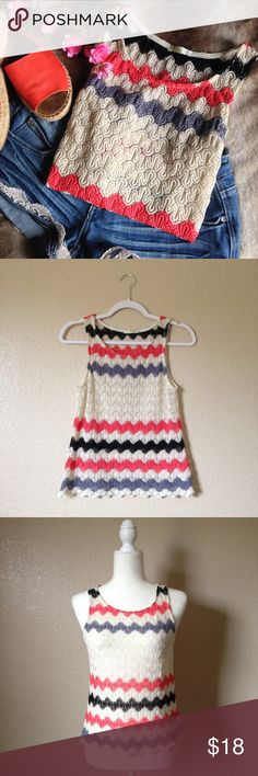 """Multicolor Chevron Crochet Top Adorable sleeveless crochet top, perfect for summer! Features beautiful pink/black/gray/off white color block chevron stripes. Gently used with no signs of wear, size S. Approximately 32"""" bust and 21"""" long, has some stretch. I happily entertain reasonable offers 😊🌸 Tops Tank Tops"""